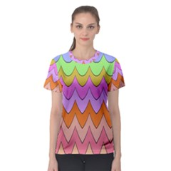 Pastel waves pattern Women s Sport Mesh Tee