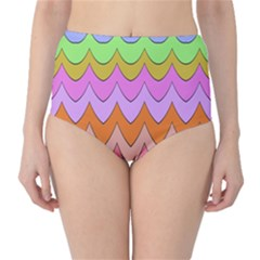 Pastel waves pattern High-Waist Bikini Bottoms