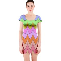 Pastel waves pattern Short sleeve Bodycon dress