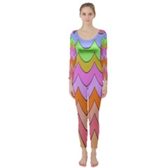Pastel Waves Pattern  Long Sleeve Catsuit