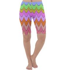 Pastel Waves Pattern Cropped Leggings