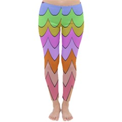 Pastel waves pattern Winter Leggings