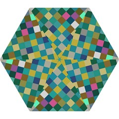 Rhombus Pattern In Retro Colors Umbrella