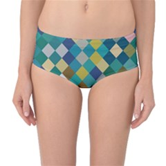 Rhombus pattern in retro colors Mid-Waist Bikini Bottoms