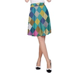 Rhombus pattern in retro colors A-line Skirt