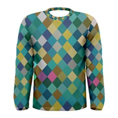 Rhombus pattern in retro colors Men Long Sleeve T-shirt