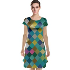 Rhombus pattern in retro colors Cap Sleeve Nightdress