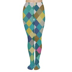 Rhombus pattern in retro colors Tights