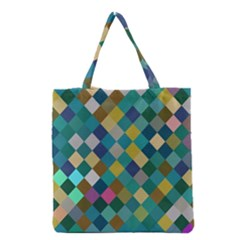 Rhombus Pattern In Retro Colors Grocery Tote Bag
