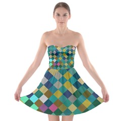 Rhombus Pattern In Retro Colors 	strapless Bra Top Dress