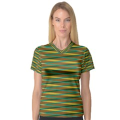 Diagonal stripes pattern Women s V-Neck Sport Mesh Tee