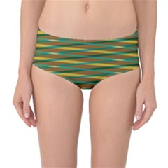 Diagonal stripes pattern Mid-Waist Bikini Bottoms