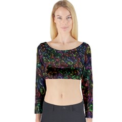 Colorful transparent shapes Long Sleeve Crop Top