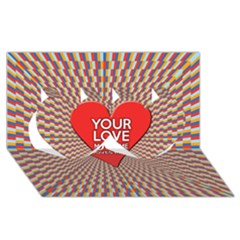Your Love Moves Me Twin Hearts 3d Greeting Card (8x4)