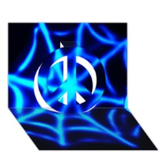 Neon web Peace Sign 3D Greeting Card (7x5)