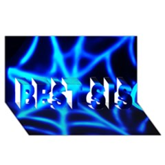 Neon Web Best Sis 3d Greeting Card (8x4)