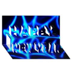 Neon Web Happy New Year 3d Greeting Card (8x4)