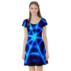 Neon web Short Sleeve Skater Dresses