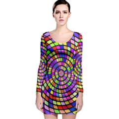 Colorful whirlpool Long Sleeve Bodycon Dress