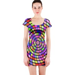 Colorful whirlpool Short sleeve Bodycon dress