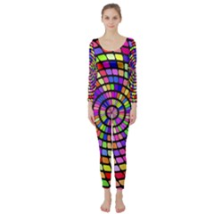 Colorful whirlpool  Long Sleeve Catsuit