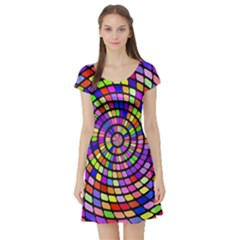 Colorful whirlpool Short Sleeve Skater Dress