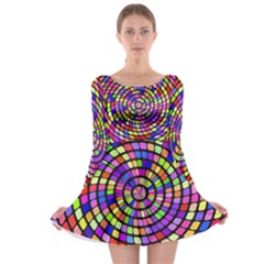 Colorful whirlpool Long Sleeve Skater Dress