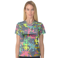 Pastel Scattered Pieces Women s V Neck Sport Mesh Tee