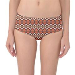 Brown orange rhombus pattern Mid-Waist Bikini Bottoms