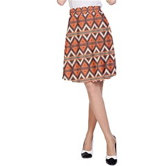 Brown Orange Rhombus Pattern A Line Skirt