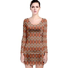 Brown orange rhombus pattern Long Sleeve Bodycon Dress