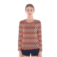 Brown Orange Rhombus Pattern Women Long Sleeve T Shirt