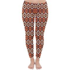 Brown orange rhombus pattern Winter Leggings