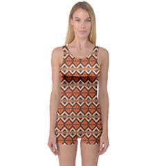 Brown orange rhombus pattern Women s Boyleg One Piece Swimsuit