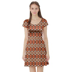 Brown Orange Rhombus Pattern Short Sleeve Skater Dress