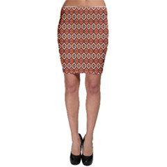 Brown orange rhombus pattern Bodycon Skirt