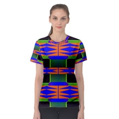 Distorted Shapes Pattern Women s Sport Mesh Tee