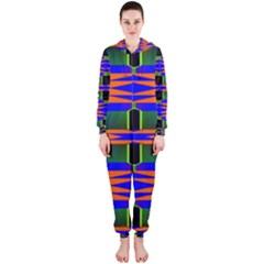 Distorted shapes pattern Hooded OnePiece Jumpsuit