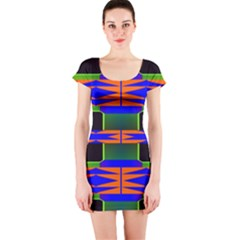 Distorted shapes pattern Short sleeve Bodycon dress