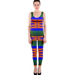 Distorted Shapes Pattern Onepiece Catsuit