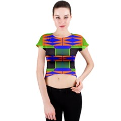 Distorted shapes pattern Crew Neck Crop Top