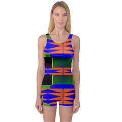Distorted shapes pattern Women s Boyleg One Piece Swimsuit