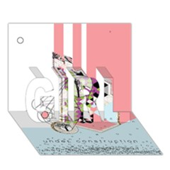Under Construction Girl 3d Greeting Card (7x5)
