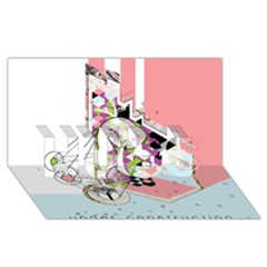 Under Construction Hugs 3d Greeting Card (8x4)