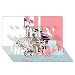 Under Construction Happy New Year 3D Greeting Card (8x4)