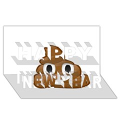 Poop Happy New Year 3D Greeting Card (8x4)