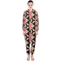 Shapes in triangles pattern Hooded OnePiece Jumpsuit