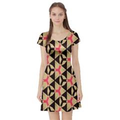 Shapes in triangles pattern Short Sleeve Skater Dress