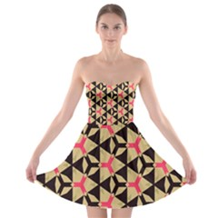Shapes in triangles pattern Strapless Bra Top Dress