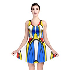 Colorful Distorted Shapes Reversible Skater Dress